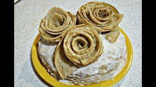 Как сделать розочки из блинов / Сметанно- банановый торт из блинов.